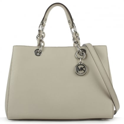 Michael Kors Cynthia Grey Leather Saffiano Satchel Bag