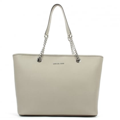 Michael Kors Jet Set Medium Grey Saffiano Leather Chain Tote Bag