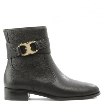 Tory Burch Gemini Black Leather Ankle Boot