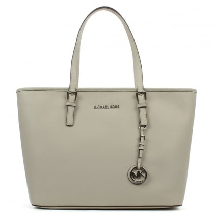 Michael Kors Jet Set Top Grey Leather Top Zip Tote Bag
