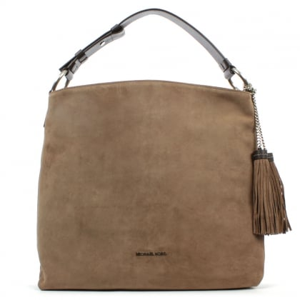 Michael Kors Elyse Large Taupe Suede Shoulder Bag