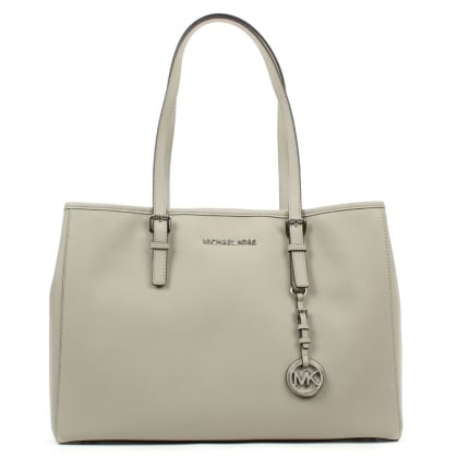 Michael Kors Jet Set Travel Large Grey Leather Tote Bag