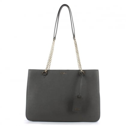 DKNY Bryant Grey Saffiano Leather Chain Shopper