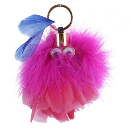 Sophie Hulme Wizzy Pink Feather Keyring Charm