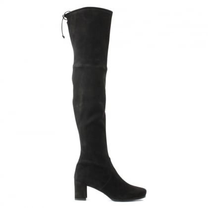 Stuart Weitzman Hinterland Black Suede Block Heel Over The Knee Boot
