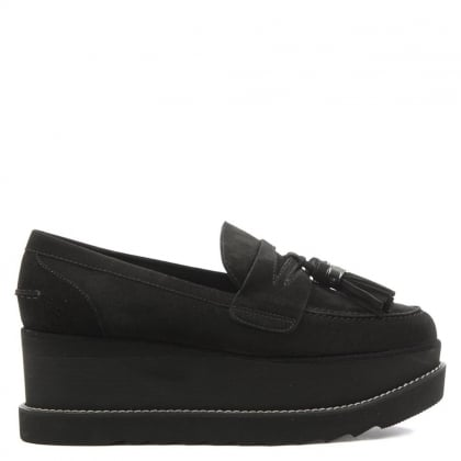 Stuart Weitzman Manila Black Suede Cleated Sole Loafer