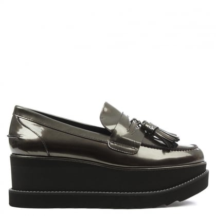 Stuart Weitzman Manila Mirrored Pewter Leather Cleated Sole Loafer