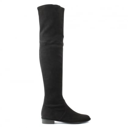 Stuart Weitzman Thighscraper Black Suede Gold Zip Over The Knee Boot