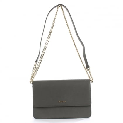 DKNY Bryant Grey Saffaino Leather Flapover Cross-Body Bag