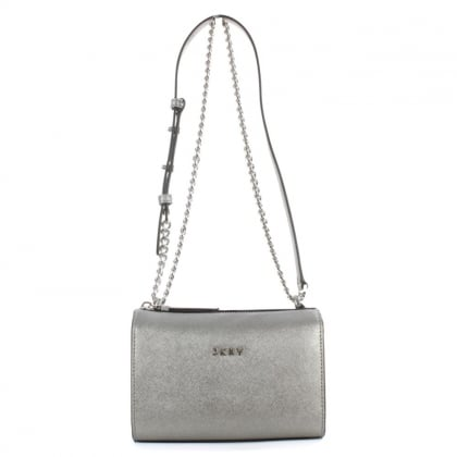 DKNY Bryant Pewter Saffiano Leather Cross-Body Bag