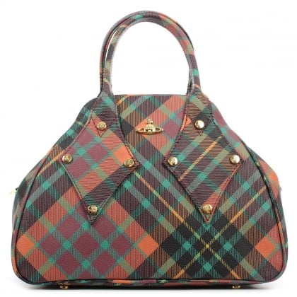 Vivienne Westwood Derby Tartan Multicoloured Coated Canvas Tote Bag