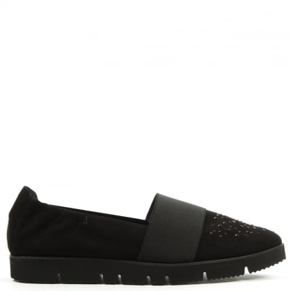 Kennel & Schmenger Point Black Suede Cleated Crystal Toe Loafer