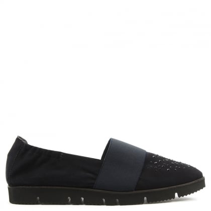 Kennel & Schmenger Point Navy Suede Cleated Crystal Toe Loafer