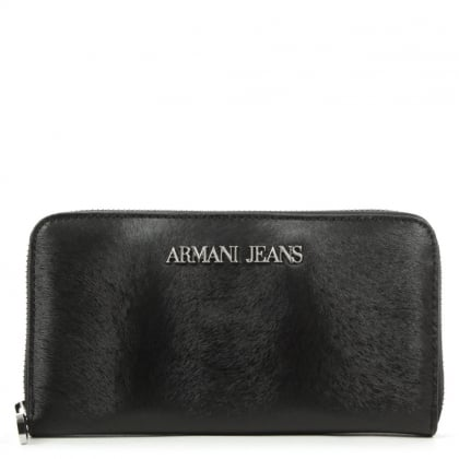 Armani Jeans Pony Black Zip Around Wallet