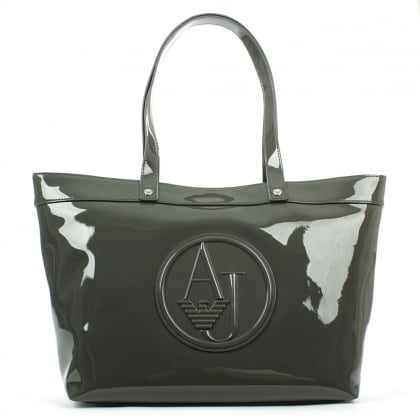 Armani Jeans Top Zip Green Patent Shopper