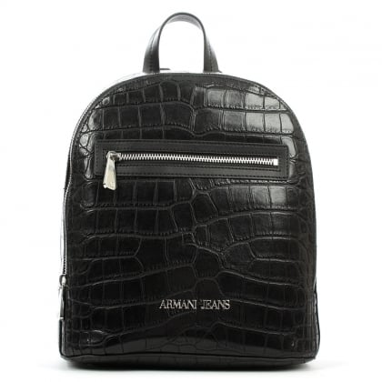 Armani Jeans Reptile Black Eco Leather Backpack
