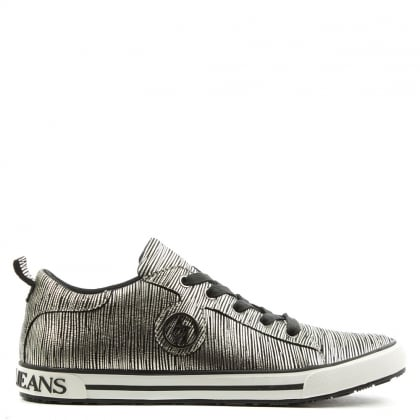 Armani Jeans Sporty Silver Leather Lace Up Trainer