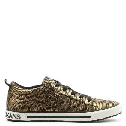 Armani Jeans Sporty Bronze Leather Lace Up Trainer