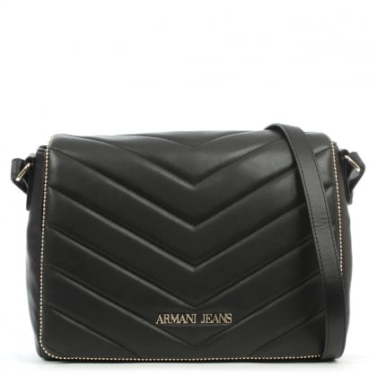 Armani Jeans Chevron Quilted Black Cross-Body Bag