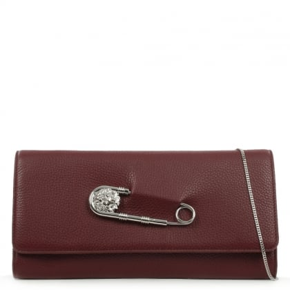 Versus Versace Foldover Burgundy Leather Safety Pin Clutch Bag