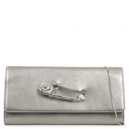Versus Versace Foldover Silver Leather Safety Pin Clutch Bag
