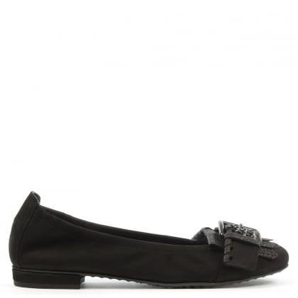 Kennel & Schmenger Sleek Black Suede Tassel & Swarovski Crystal Pump
