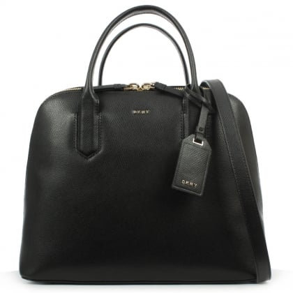 DKNY Bryant Park Medium Black Leather Satchel Bag