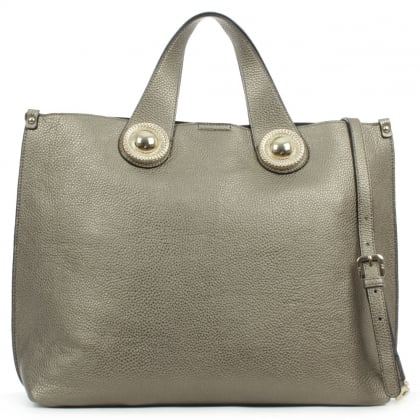 Versace Jeans Queens Large Pewter Metallic Tote Bag