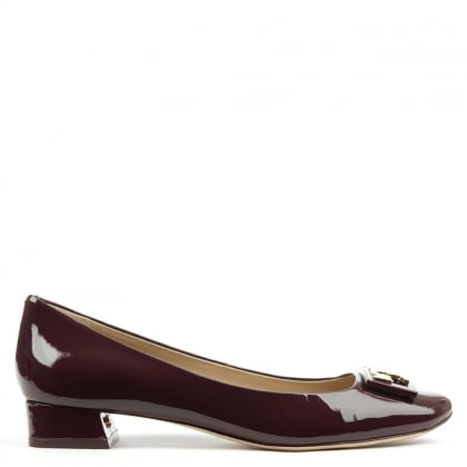 Tory Burch Gigi Burgundy Patent Leather Block Heel Pump