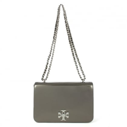 Tory Burch Mercer Pewter Leather Metallic Shoulder Bag