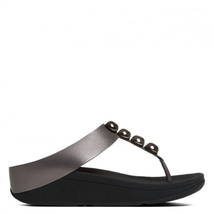 FitFlop Rola Pewter Leather Toe Post Sandal
