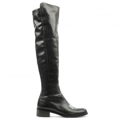 Lamica Black Leather Over The Knee Boot