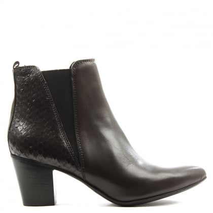 Lamica Grey Leather Reptile Back Chelsea Boot