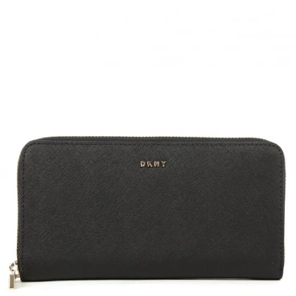 DKNY Bryant Park Black Leather Large Zip Around Wallet