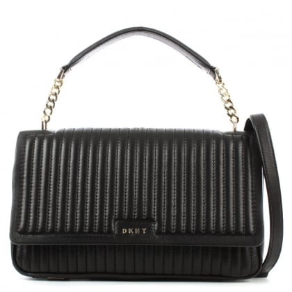 DKNY Gansevoort Black Leather Pinstripe Shoulder Bag