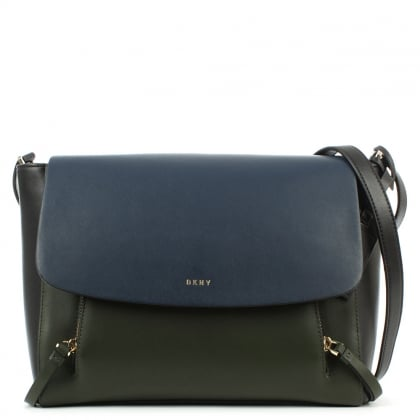 DKNY Greenwich Navy Leather Pocket Messenger