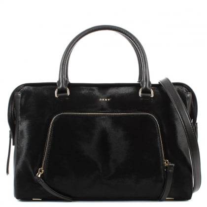 DKNY Riverside Black Leather Pocket Satchel
