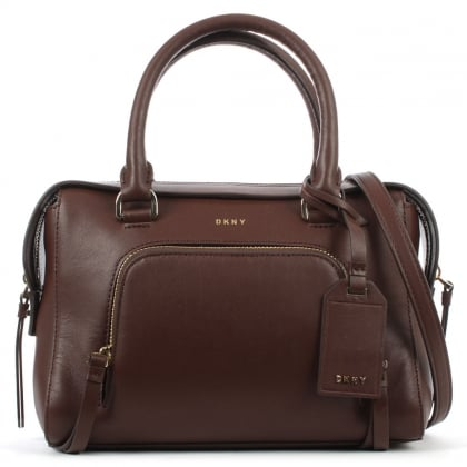 DKNY Greenwich Oxblood Leather Pocket Satchel