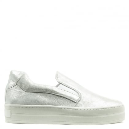 Daniel Freestone Silver Metallic Leather Flatform Trainer