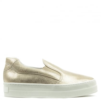 Daniel Freestone Gold Metallic Leather Flatform Trainer