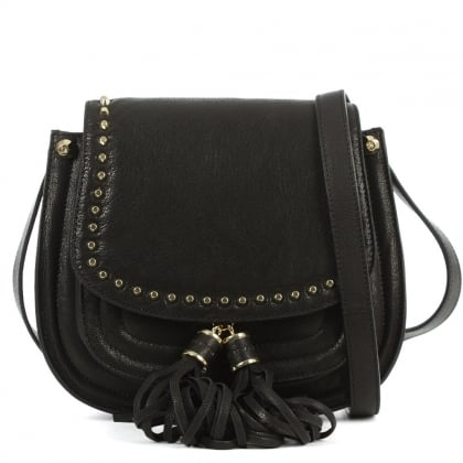 Stuart Weitzman Quarius Black Leather Studded Saddle Bag