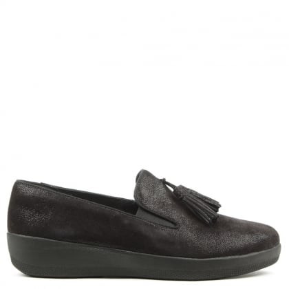 FitFlop Tassel Superskate Black Shimmersuede Loafers