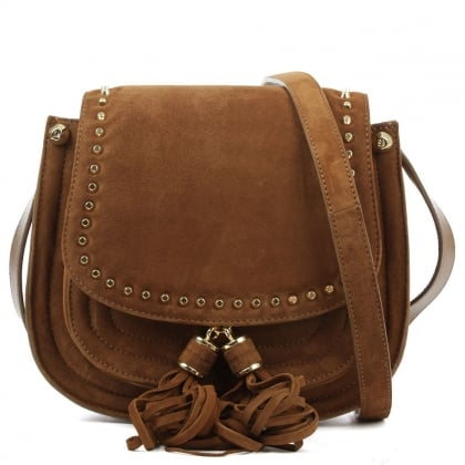Stuart Weitzman Quarius Tan Suede Studded Saddle Bag