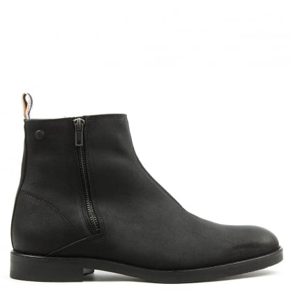 Jack & Jones Zippy Black Leather Waxed Ankle Boot