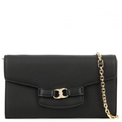 Tory Burch Gemini Black Leather Clutch Bag