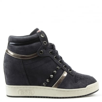 Ash Prince Bis Navy Suede Studded Wedge High Top Trainer
