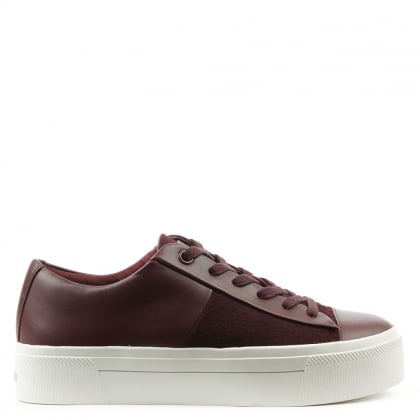 DKNY Bari Burgundy Leather Platform Trainer