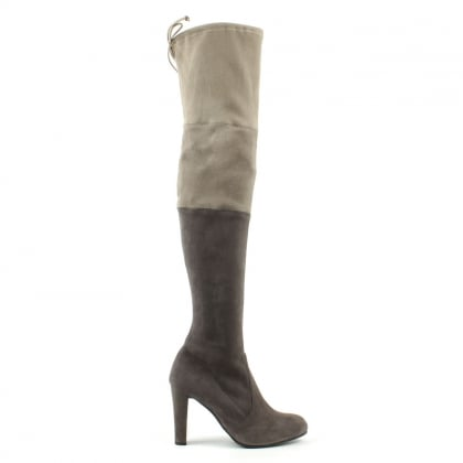 Stuart Weitzman Troika Grey Suede Colour Block Over Knee Boot