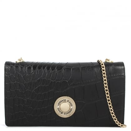 Versace Jeans Brooklyn Black Reptile Chain Purse