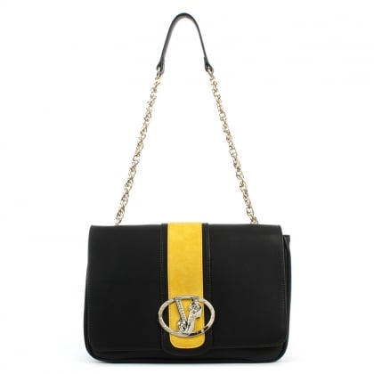 Versace Jeans State Black Large Contrast Chain Handle Shoulder Bag